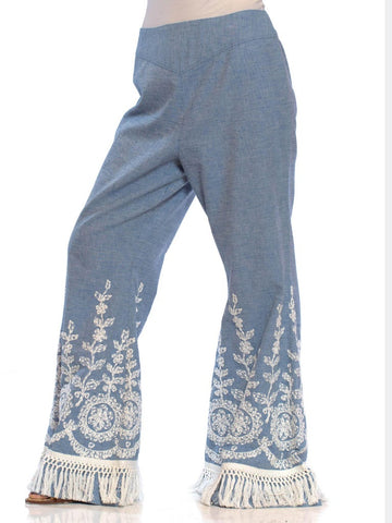 1970S Blue & White Cotton Blend Chambray Lace Embroidered Bell Bottom Flared Pants With Fringe