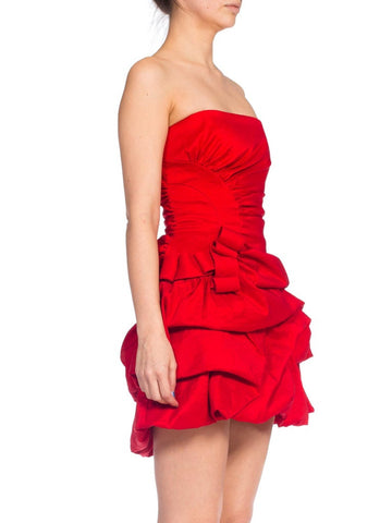 1980S Red Poly/Lycra Taffeta Strapless Poof Skirt Cocktail Dress