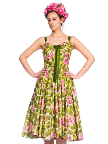 1950S Floral Cotton Sateen Rose Printed Circle Skirt Dress With Silk Flower Hat