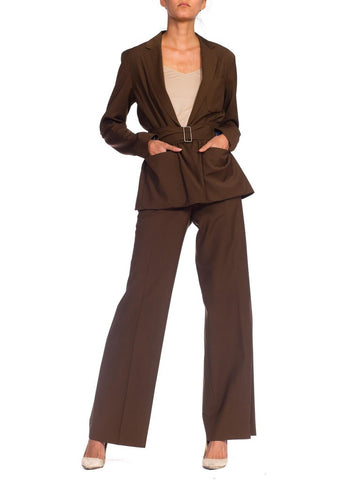 1990S Jean Paul Gaultier Chocolate Brown Light Weight Wool Pant Suit With Drawstring Waist & Belt