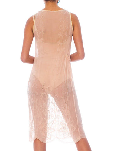 1920S Blush Pink Silk Chiffon Sheer Beaded Flapper Cocktail Dress