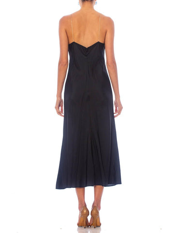 1930S Black Bias Cut Rayon Minimal Slip Dress With Nude Straps