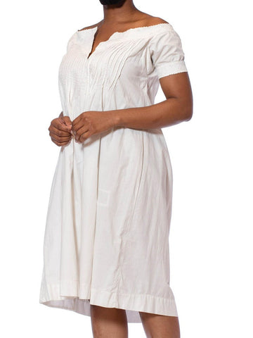 Victorian White Hand Embroidered Organic Cotton 1860S Chemise Dress