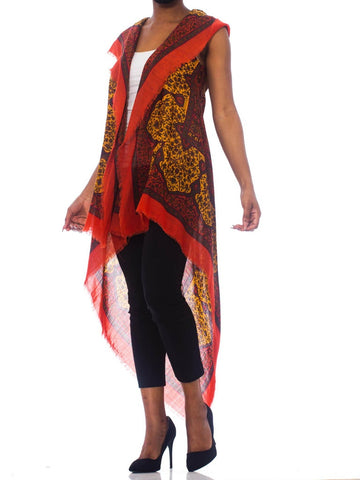 MORPHEW COLLECTION Boho Hooded Vest Made From 1970'S Paisley Scarf