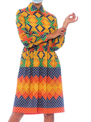 1960S Oscar De La Renta Multicolor Polyester Jersey Mod Geometric Shirt Dress