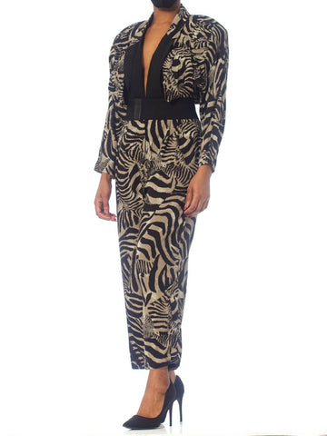 1980'S Zebra Print Rayon Power Jumpsuit