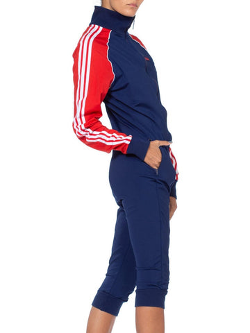 1980S Adidas Red White & Blue Polyester Track Ski Jumpsuit