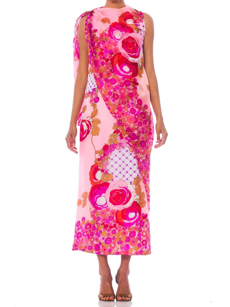 1960S Pink  Psychedelic Rose Print Polyester Chiffon Maxi Dress With Draped Cape