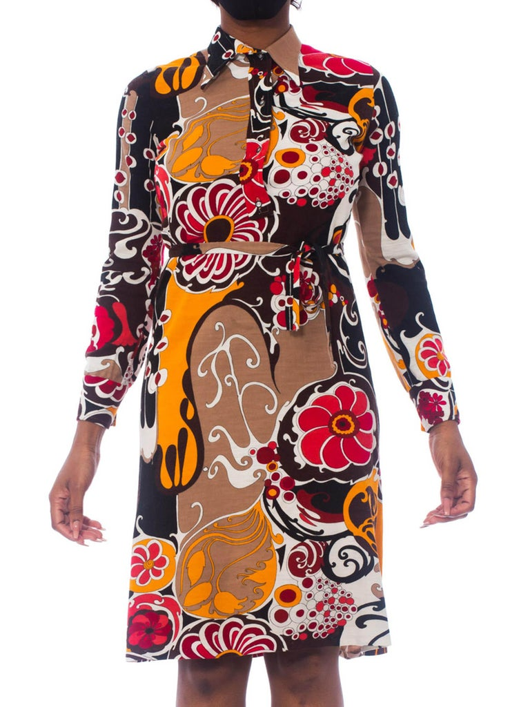 1970S Pyschedelic Floral Wool Jersey Dress With Rayon Lining