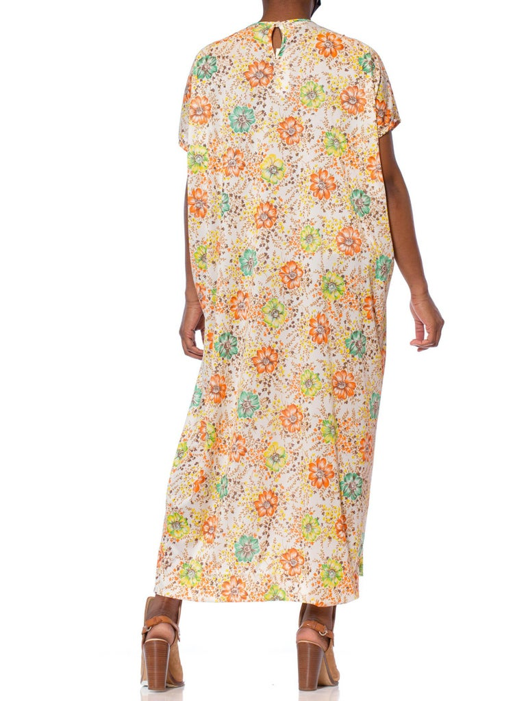 1970'S Floral Printed Polyester Jersey Kaftan With Internal Waist Elastic