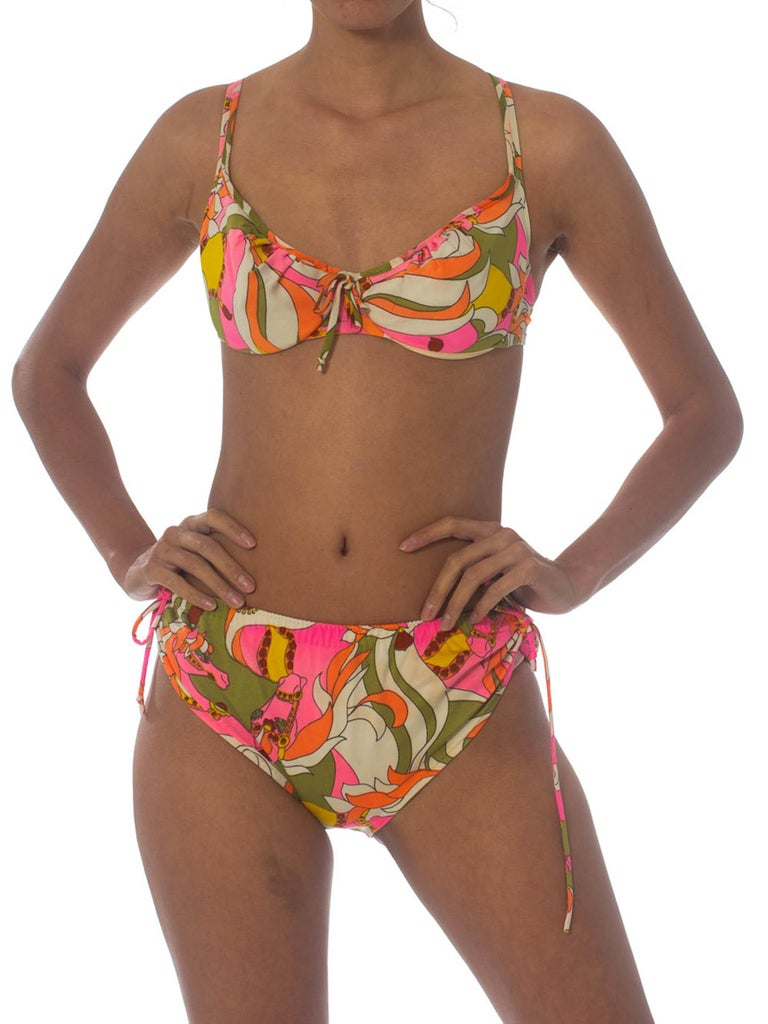 1970'S Pyschedelic Floral Polyester Jersey Swimsuit