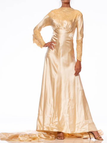 1930'S ROSE AMADO Champagne Bias Cut Silk Satin Wedding Gown With Victorian Handmade Heirloom Lace & Massive Train
