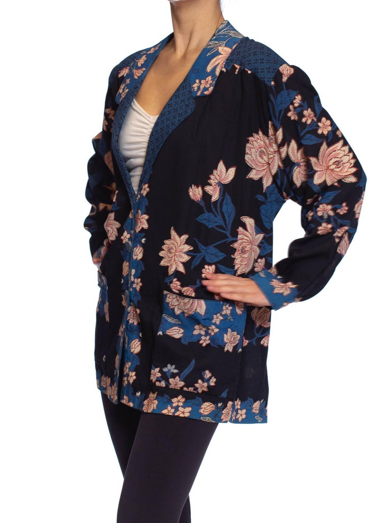1980S Pink & Blue Rayon Asian Floral Lightweight Oversized Blazer Jacket