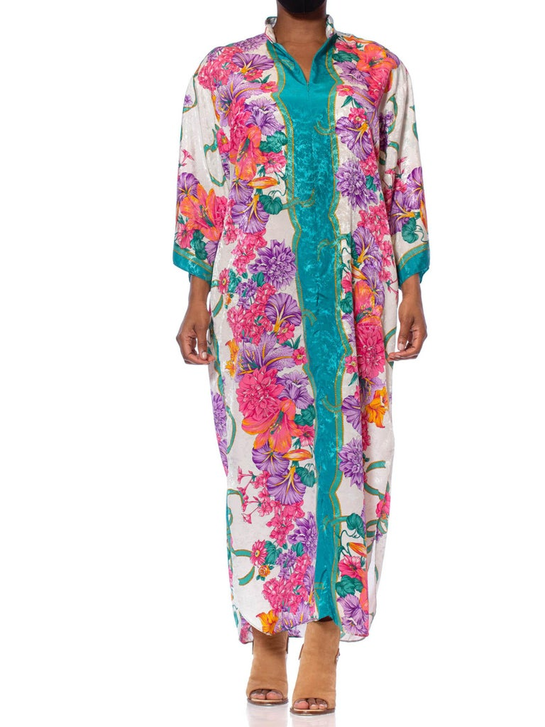 1980S Pink & White Tropical Polyester Jacquard Floral Silky Kaftan