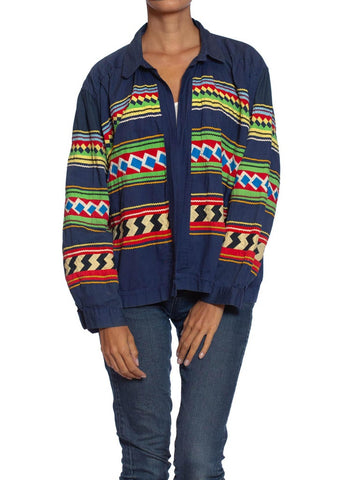 1940S Navy Blue Patchwork Cotton Florida Seminole Native American Jacket With Ric-Rac Trim