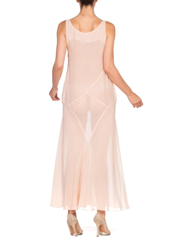 1920'S Blush Pink Silk Chiffon Art Deco Seamed Slip Dress & Jacket