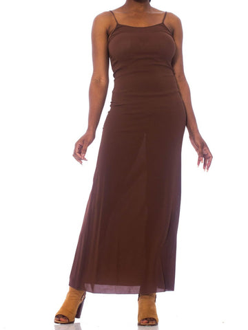 1990'S JEAN PAUL GAULTIER Chocolate Brown Nude Rayon Stretch  Minimal Supermodel 90'S Slip Dress