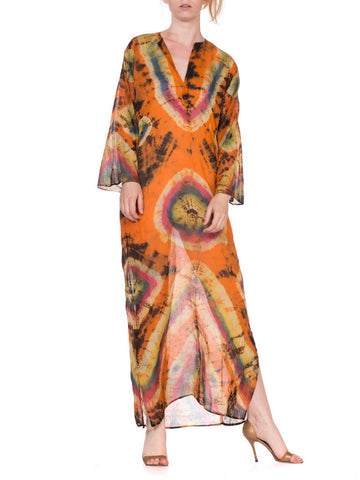1970'S Orange & Blue Cotton Voile Indian Embroidered Tie Dye Kaftan Dress