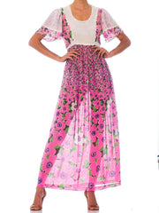 1960S Pink Floral Cotton Lawn Maxi Dress With Cape Sleeves & Lace Trim