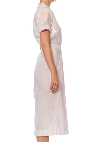 1950S White Nylon Pin-Up Nurse Uniform Dress