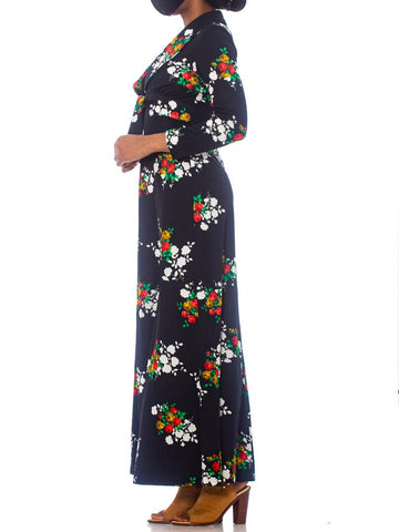 1970'S Black Polyester Jersey Rose Print Halter Disco Dress With Matching Jacket