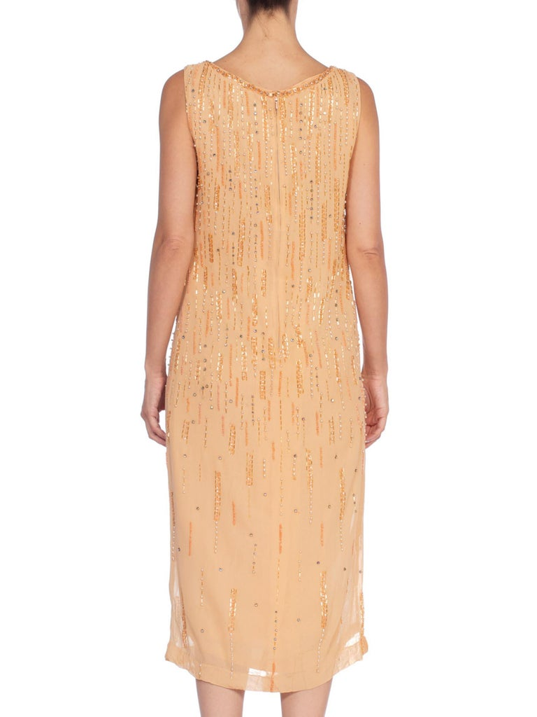 1970'S Peach Silk Chiffon Crystal Beaded Straight Shift Cocktail Dress