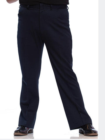 1970'S Navy Blue Polyester Knit Men's Disco Flared Pants