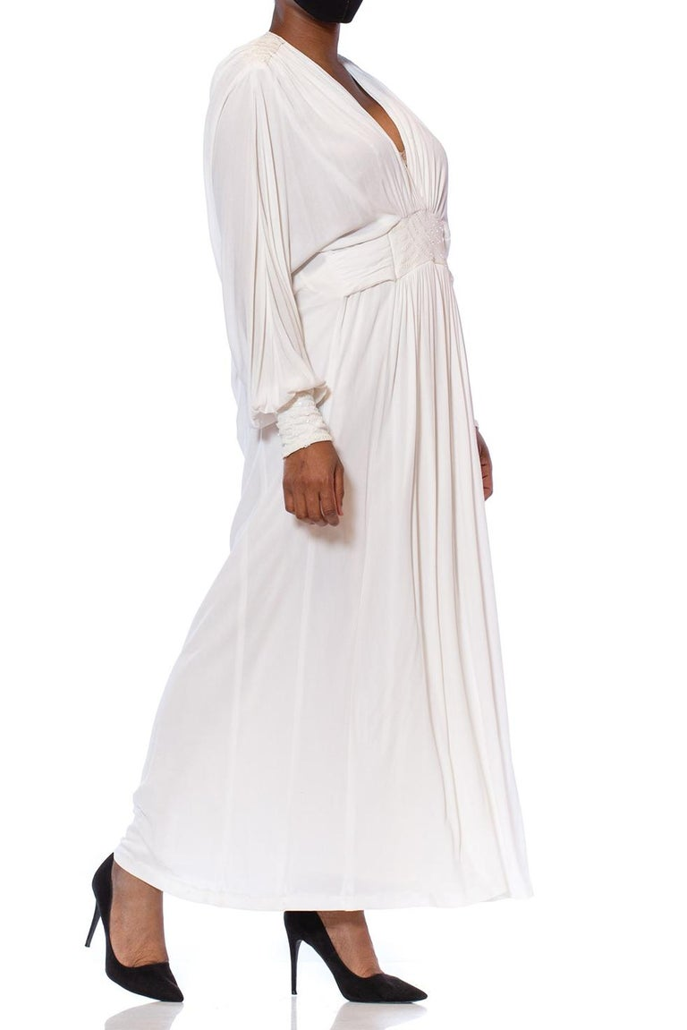 1980S White Viscose Jersey Draped Goddess Kaftan Gown With Sequins