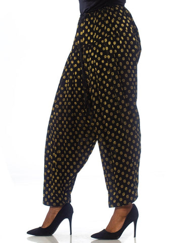1980'S Balloon Harem Pants In Gold Metallic Polka Dot Chiffon