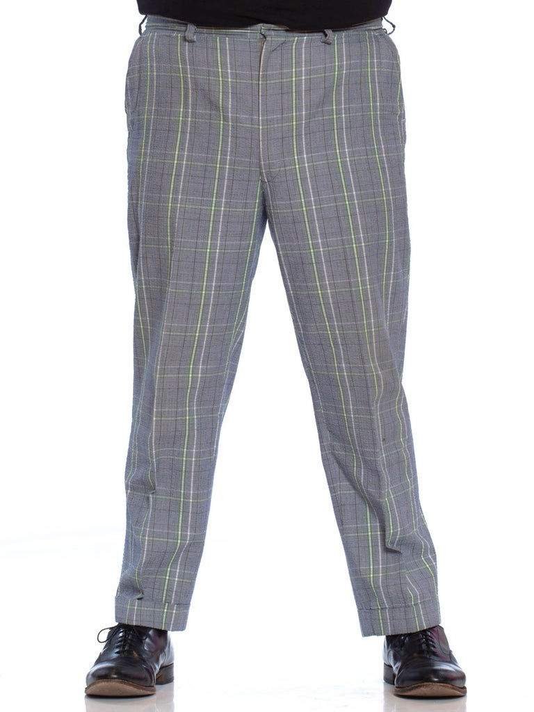 1960S BROOKS BROTHERS Blue & Grey Cotton Seersucker Men's Plaid Pants