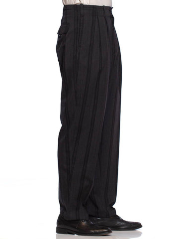 1980'S YOHJI YAMAMOTO Black & Grey Wool Pinstripe Men's Pleated High Waist Pants