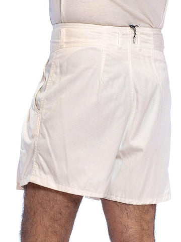 1980'S White Cotton Twill High Waisted Pleated  Shorts