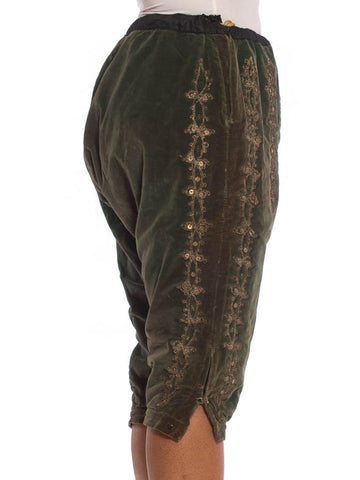 Victorian Green Cotton Velvet Rare Men's Antique Theatrical Pants With Metallic Silver Embroidery