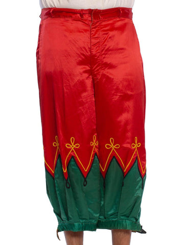Victorian Red & Green Silk Satin  Rare Near Mint Men's Antique Circus Clown Pants With Gold Trim