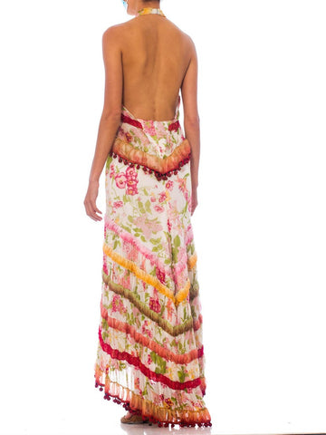 MORPHEW COLLECTION Silk Chiffon Vintage 70S Floral Backless Halter Gown With Pom-Pom Trim