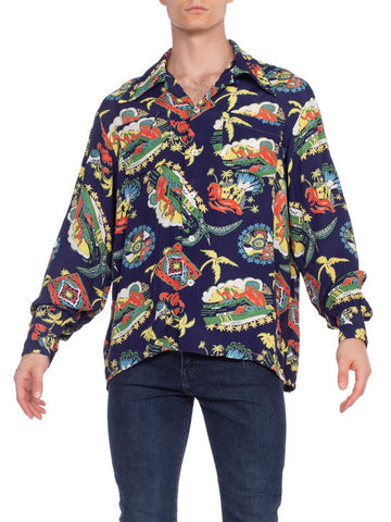 1940S Blue Rayon Men's Hawaiian Volcano Printed Rare Long Sleeve Shirt