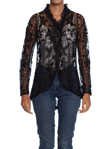 Edwardian Black Silk Embroidered Cotton Net Jacket With Lace Ruffled Collar