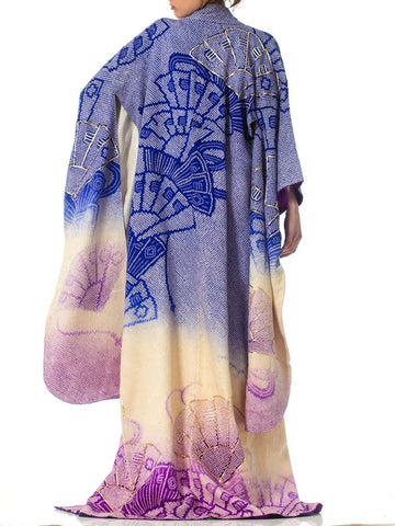 1970'S Japanese Shibori Hand Dyed Ombre Blue To Purple Silk Gold Embroidered  Kimono
