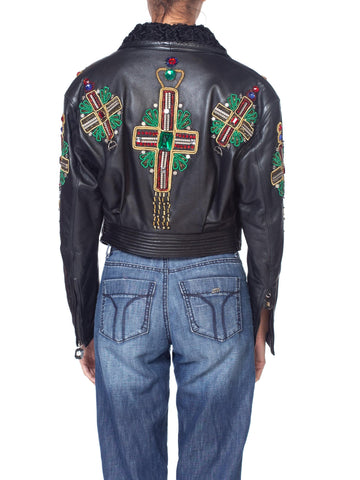 1990's Iconic Gianni Versace Crystal Cross Beaded Leather + Fur Biker Jacket
