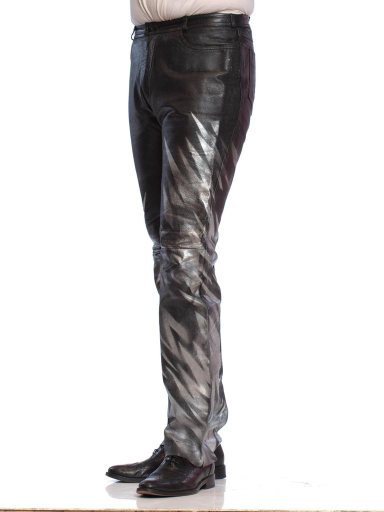 1980S Black Leather Men's Pants With Silver Metallic Graffiti