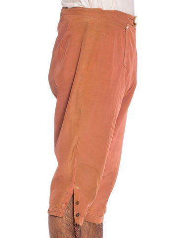 1920S Dusty Rose Silk & Cotton Men's Distressed 18Th Century Style Pants From MGM Hollywood