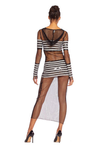 1990S JEAN PAUL GAULTIER Black Sheer JPG Fishnet Sailor Stripe Sequin Dress With Hood