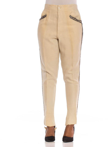 1920S Cream Linen Men's Victorian Cavalry Military Style Pants