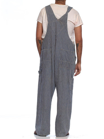 1930S Blue & White Cotton Men's Distressed Railroad Stripe Denim Overalls