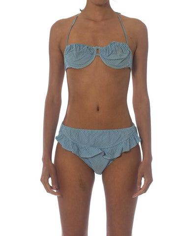 1940S Cotton Underwire Blue Gingham Pin-Up Bikini Set Swimsuit