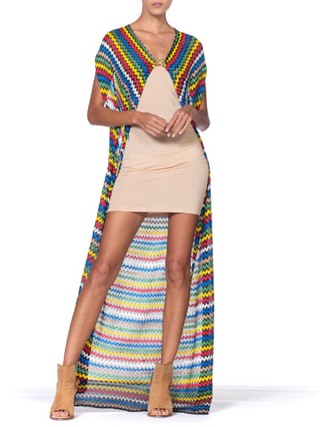 Morphew Collection Multicolor Striped Knit Duster Top With Gold Parrot Clasp