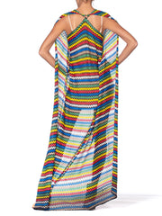 Morphew Collection 1970's Knit Halter Top Wrap Dress With Parrot Clasp