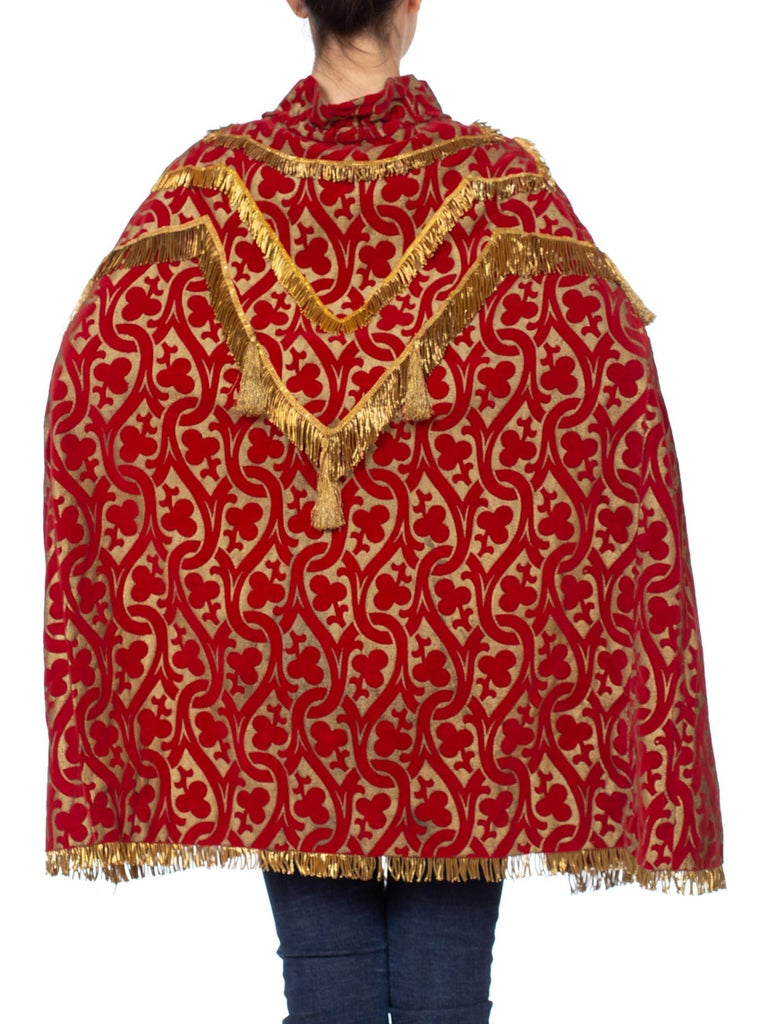 Morphew Collection Red Metallic Printed Velvet Silk Lined Cape With Real Gold Bullion Fringe
