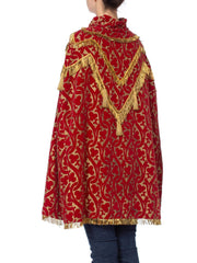 Morphew Collection Red Metallic Velvet Silk Lined Cape With Real Gold Bullion Fringe
