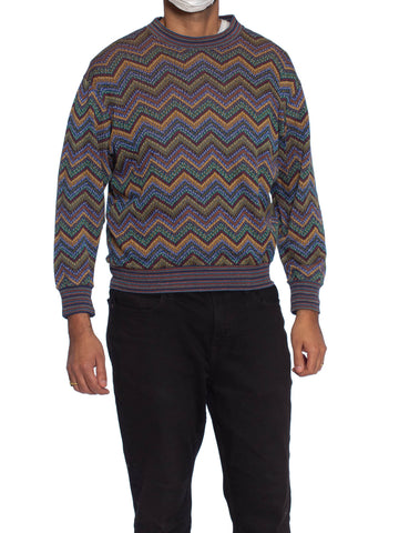 1980'S MISSONI Blue & Green Cotton Mens Zig-Zag Knit Jewel Tone Italian Sweater